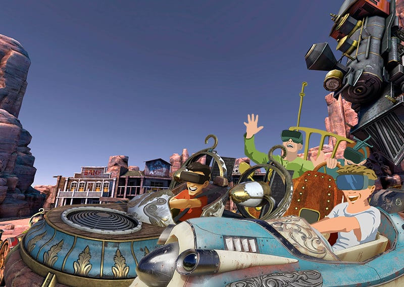 ein animiertes bild stellt die neue vr scooter steampunk attraktion dar
