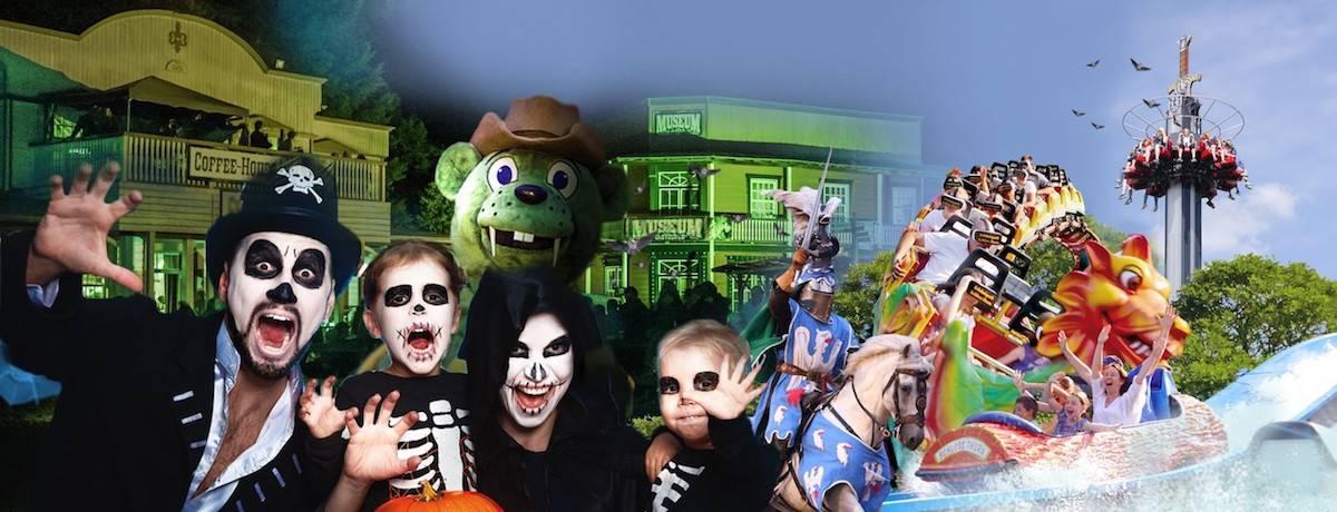 Halloween im Freizeitpark mit kostümierter Familie, Ritter, Achterbahn und Freifallturm