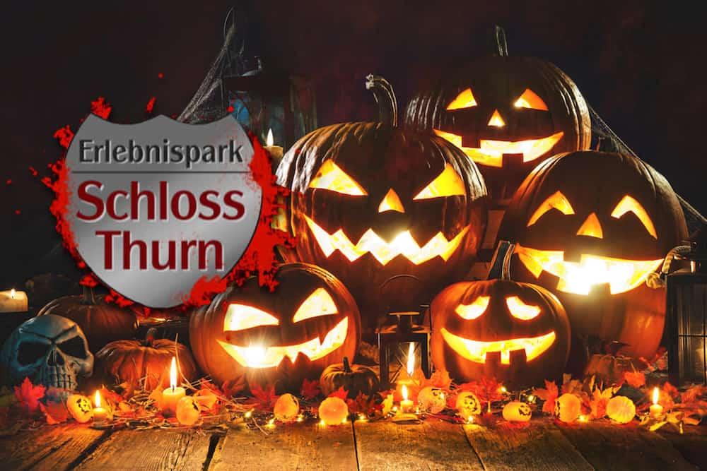 geschnitzte Kürbisse zu Halloween im Freizeitpark Schloss Thurn