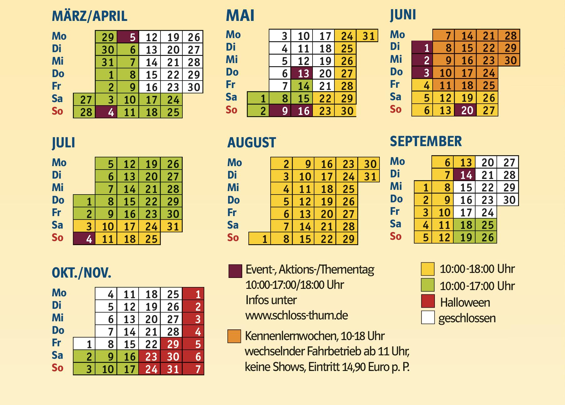 kalenderansicht mit oeffnungszeiten 2021